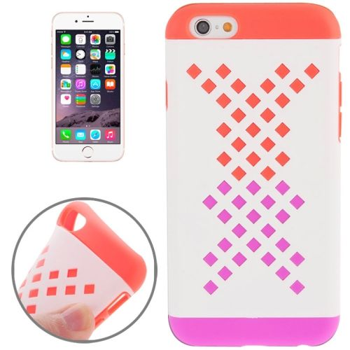Mix Color Hollowed-out Hole Design TPU Case for iPhone 6 (Orange+Rose)