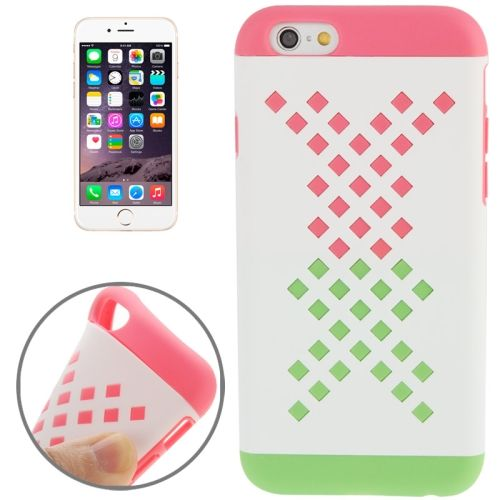 Mix Color Hollowed-out Hole Design TPU Case for iPhone 6 (Pink+Green)