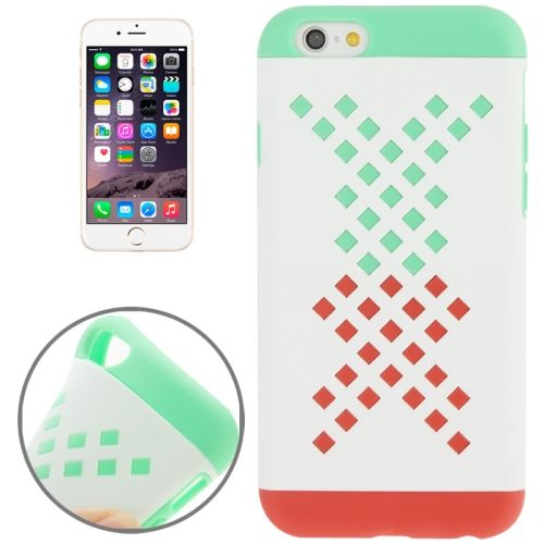 Mix Color Hollowed-out Hole Design TPU Case for iPhone 6 (Green+Orange)