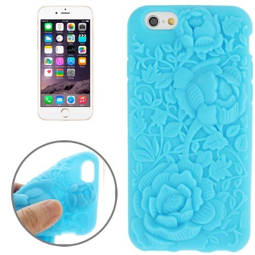 Newest 3D Flower Pattern Silicone Case for iPhone 6 (Blue)