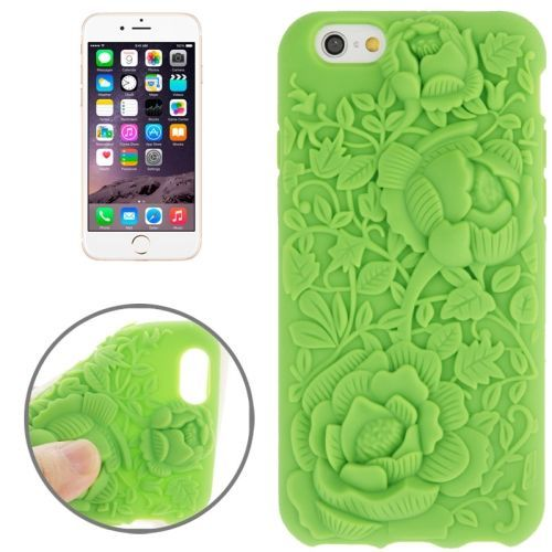 Newest 3D Flower Pattern Silicone Case for iPhone 6 (Green)