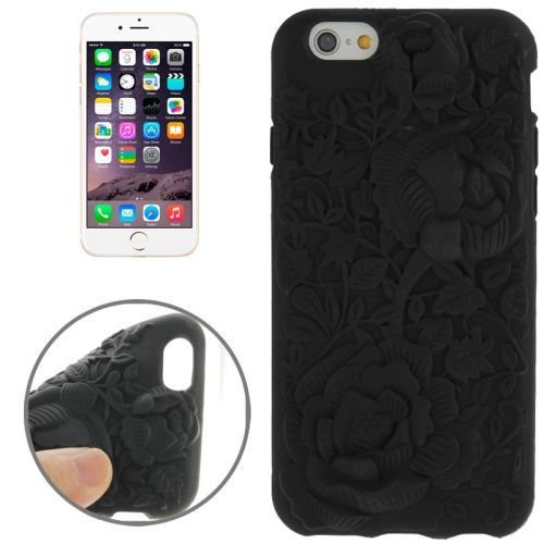 Newest 3D Flower Pattern Silicone Case for iPhone 6 (Black)