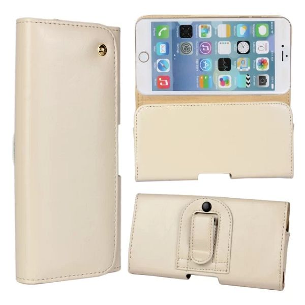 Crazy Horse Texture Waist Belt Clip Snap-Fastener Flip Genuine Leather Holster Case for iPhone 6 (White)