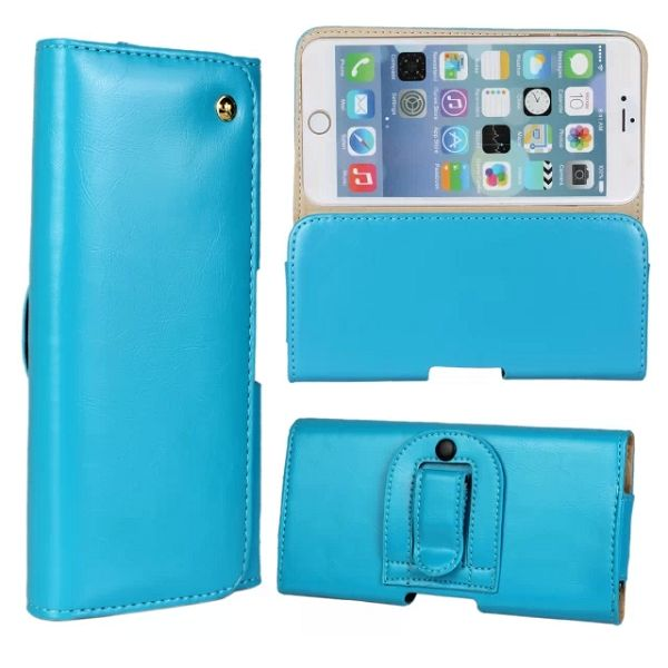 Crazy Horse Texture Waist Belt Clip Holster Flip Genuine Leather Case for iPhone 6 Plus 5.5 Inch (Blue)