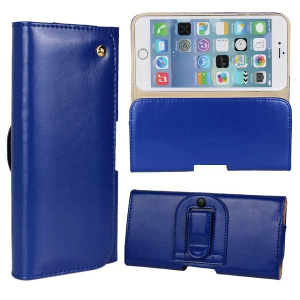 Crazy Horse Texture Waist Belt Clip Snap-Fastener Flip Genuine Leather Holster Case for iPhone 6 (Dark Blue)