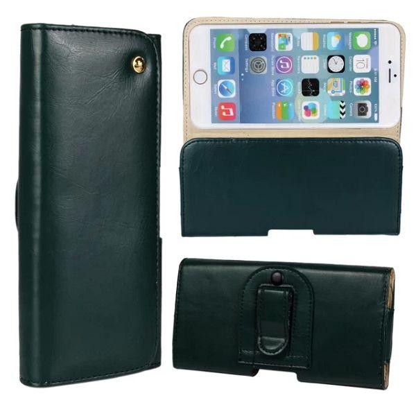 Crazy Horse Texture Waist Belt Clip Snap-Fastener Flip Genuine Leather Holster Case for iPhone 6 (Dark Green)