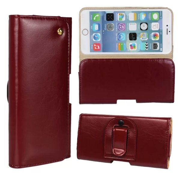 Crazy Horse Texture Waist Belt Clip Snap-Fastener Flip Genuine Leather Holster Case for iPhone 6 (Coffee)