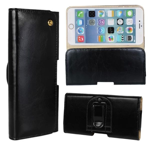Crazy Horse Texture Waist Belt Clip Snap-Fastener Flip Genuine Leather Holster Case for iPhone 6 (Black)