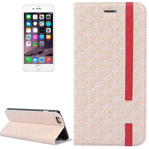 Color Matching Style Flip Leather Case for iPhone 6 with Holder and Card Slots (Beige)
