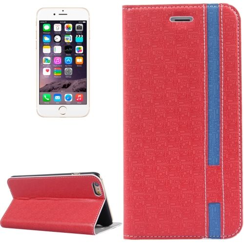 Color Matching Style Flip Leather Case for iPhone 6 Plus 5.5 inch with Holder and Card Slots (Red)