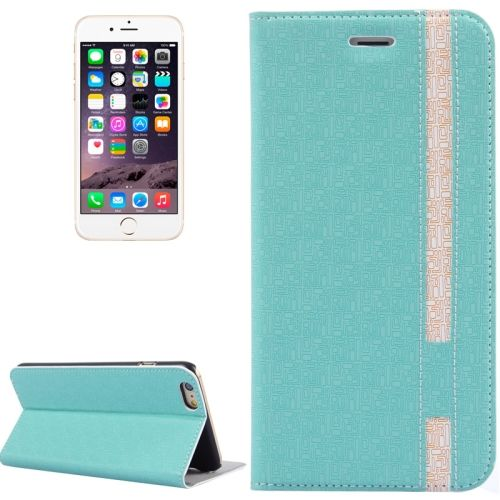 Color Matching Style Flip Leather Case for iPhone 6 Plus 5.5 inch with Holder and Card Slots (Green)