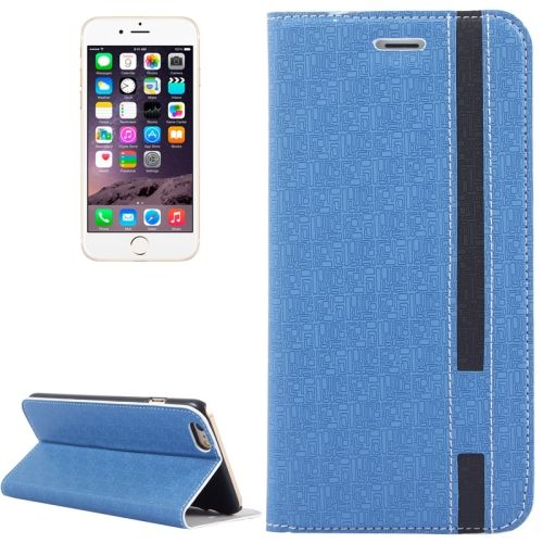 Color Matching Style Flip Leather Case for iPhone 6 Plus 5.5 inch with Holder and Card Slots (Blue)