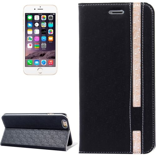 Color Matching Style Flip Leather Case for iPhone 6 Plus 5.5 inch with Holder and Card Slots (Black)