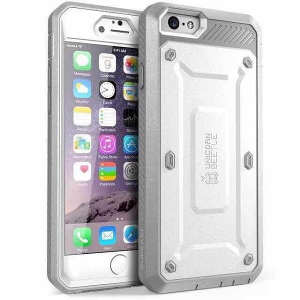 3 in 1 Detachable Shockproof Two Tone Hybrid Silicone+PC Case for iPhone 6 Plus (White+Grey)