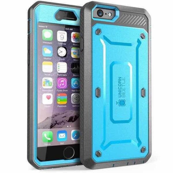 3 in 1 Detachable Shockproof Two Tone Hybrid Silicone+PC Case for iPhone 6 Plus (Blue+Grey)