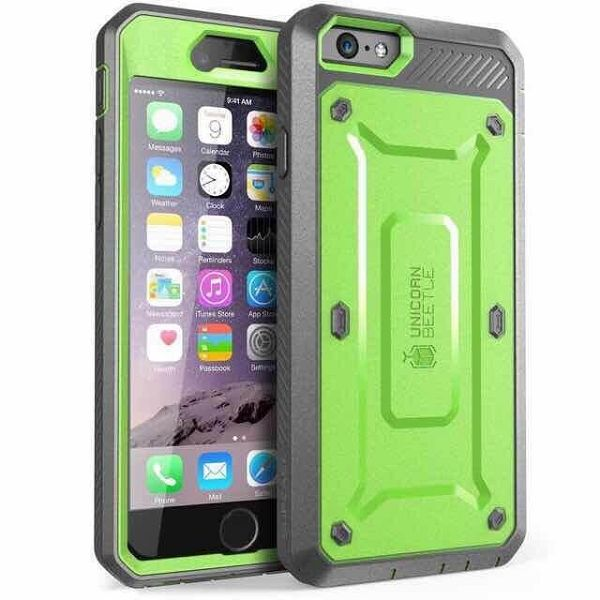 3 in 1 Detachable Shockproof Two Tone Hybrid Silicone+PC Case for iPhone 6 Plus (Green+Grey)