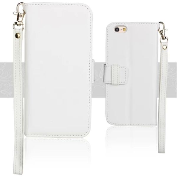 Wallet Style Floral Cloth Lining Pattern Flip Leather Case for iPhone 6 4.7 inch with Lanyard (White)