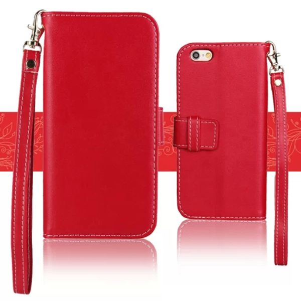 Wallet Style Floral Cloth Lining Pattern Flip Leather Case for iPhone 6 4.7 inch with Lanyard (Red)