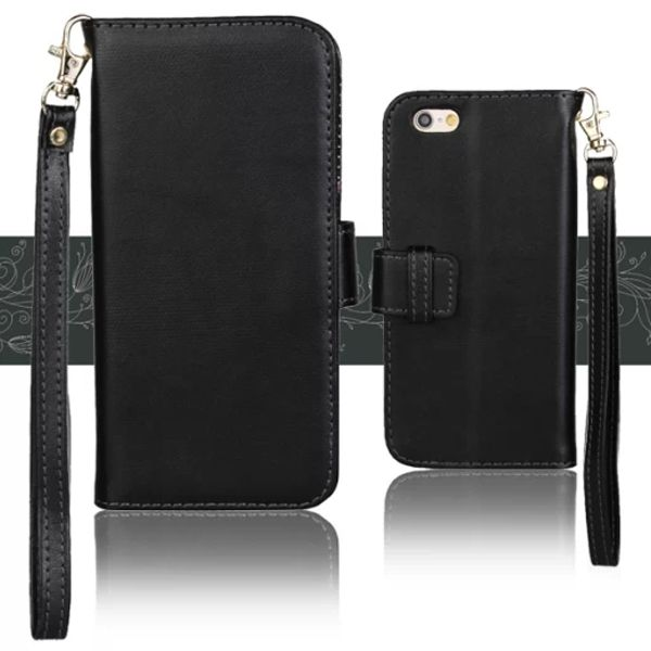 Wallet Style Floral Cloth Lining Pattern Flip Leather Case for iPhone 6 4.7 inch with Lanyard (Black)