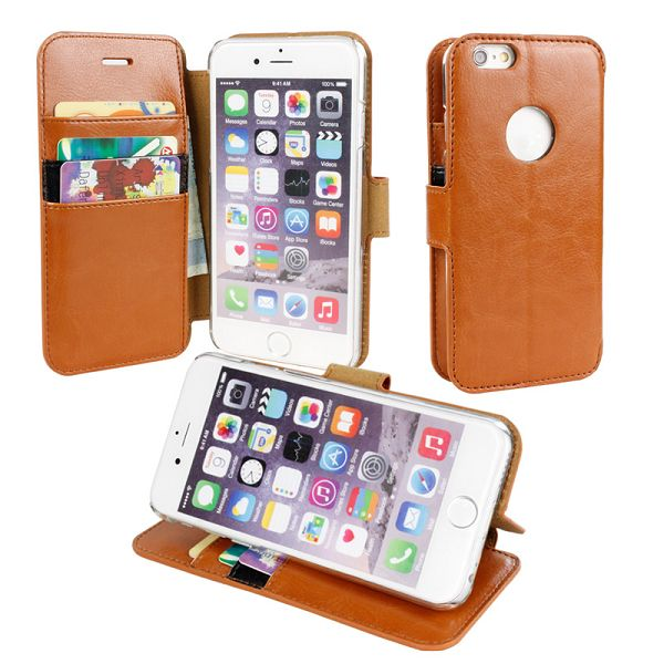 Verus Long Buckle Style Wallet Leater Case for iPhone 6 (Brown)