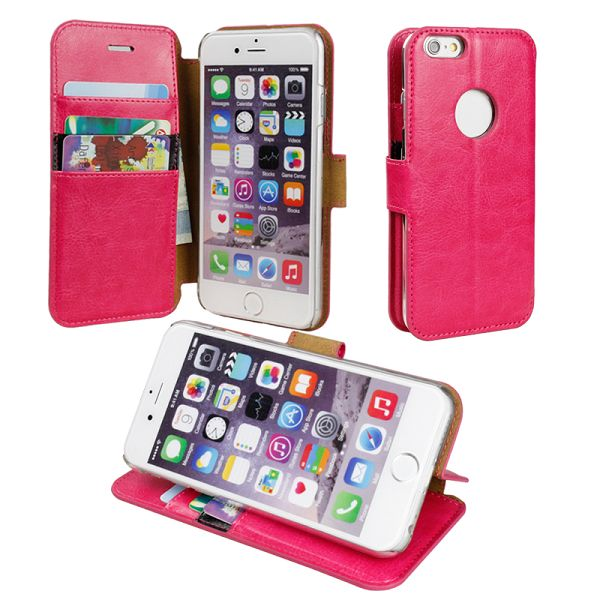 Verus Long Buckle Style Wallet Leater Case for iPhone 6 (Rose)