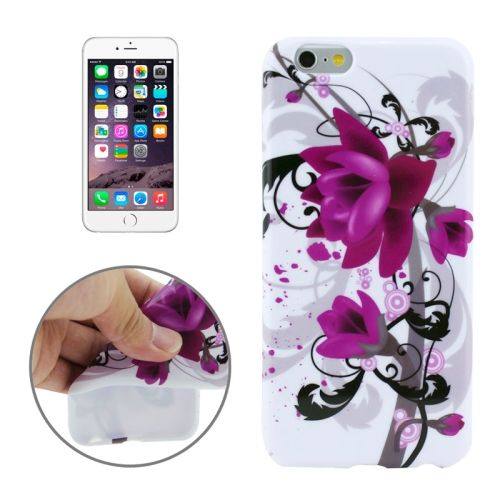 3D Printing Colorful Design Soft TPU Case for iPhone 6 4.7 (Purple Flowers)