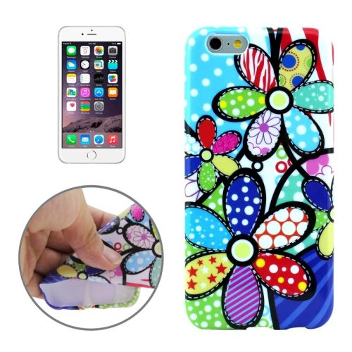 3D Printing Colorful Design Soft TPU Case for iPhone 6 4.7 (Colorful Flower)