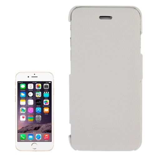 Litchi Texture with Nice Logo Inside Flip Genuine Leather Case for iPhone 6 (White)