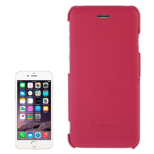 Litchi Texture with Nice Logo Inside Flip Genuine Leather Case for iPhone 6 (Rose)