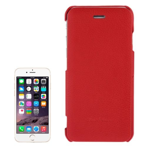 Litchi Texture with Nice Logo Inside Flip Genuine Leather Case for iPhone 6 (Red)