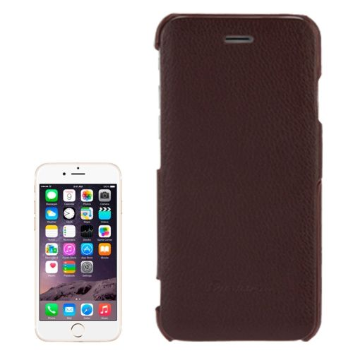 Litchi Texture with Nice Logo Inside Flip Genuine Leather Case for iPhone 6 (Brown)