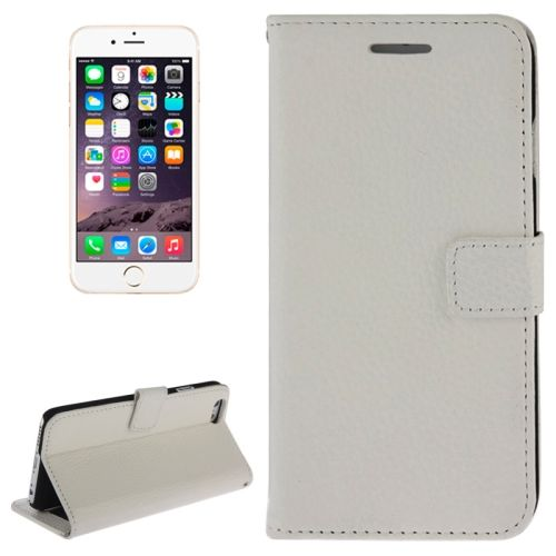 Litchi Texture Wallet Genuine Leather Flip Cover for iPhone 6 (White)