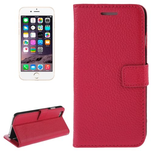 Litchi Texture Wallet Genuine Leather Flip Cover for iPhone 6 (Rose)