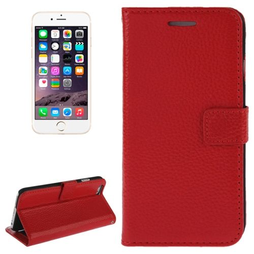 Litchi Texture Wallet Genuine Leather Flip Cover for iPhone 6 (Red)