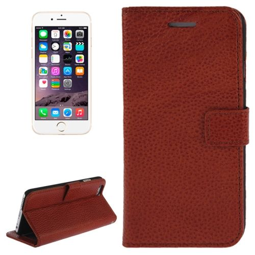Litchi Texture Wallet Genuine Leather Flip Cover for iPhone 6 (Brown)