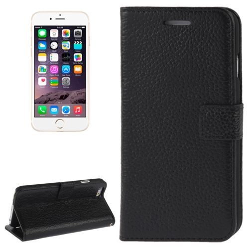 Litchi Texture Wallet Genuine Leather Flip Cover for iPhone 6 (Black)