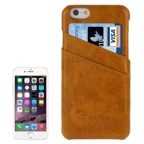Deluxe Retro PU Leather Back Case for iPhone 6 4.7 Inch with Card Slots (Light Brown)