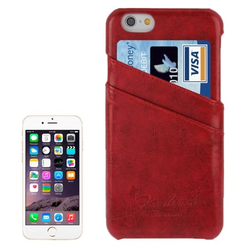 Deluxe Retro PU Leather Back Case for iPhone 6 4.7 Inch with Card Slots (Red)