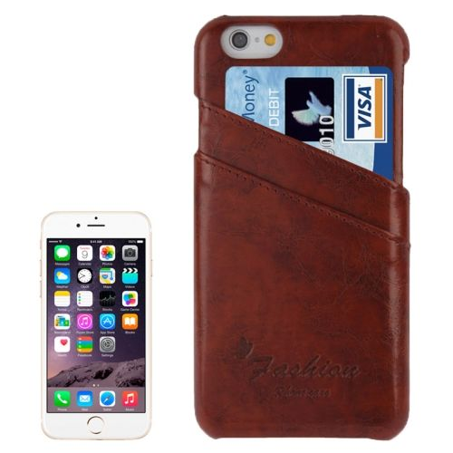 Deluxe Retro PU Leather Back Case for iPhone 6 4.7 Inch with Card Slots (Dark Brown)