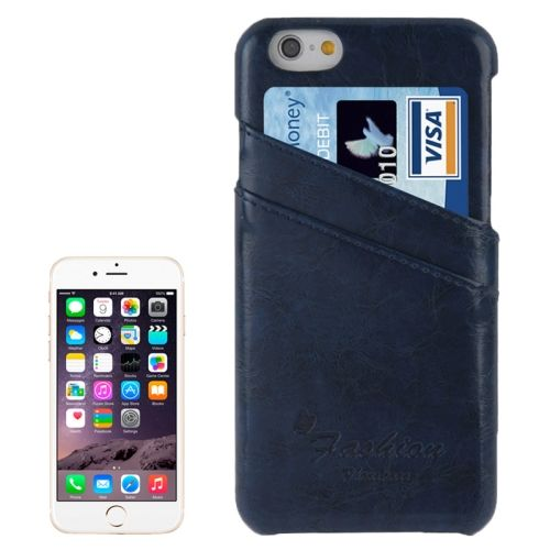 Deluxe Retro PU Leather Back Case for iPhone 6 4.7 Inch with Card Slots (Blue)