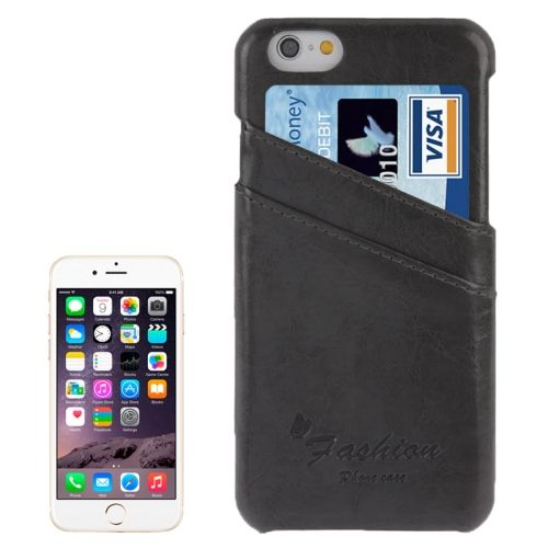 Deluxe Retro PU Leather Back Case for iPhone 6 4.7 Inch with Card Slots (Black)