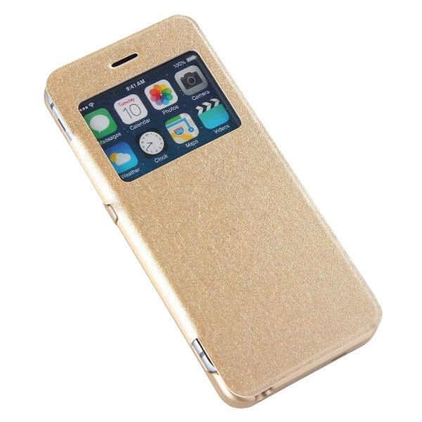 3200mAh Power Pack External PU Leather Flip Backup Battery Case for iPhone 6 4.7 (Gold)