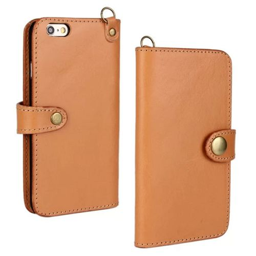 Luxury Wallet Style Flip Stand First Genuine Leather Cover for iPhone 6 4.7 inch with Buckle and Card Slots (Brown)