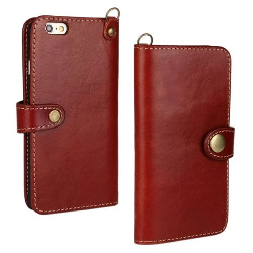 Luxury Wallet Style Flip Stand First Genuine Leather Cover for iPhone 6 4.7 inch with Buckle and Card Slots (Dark Red)