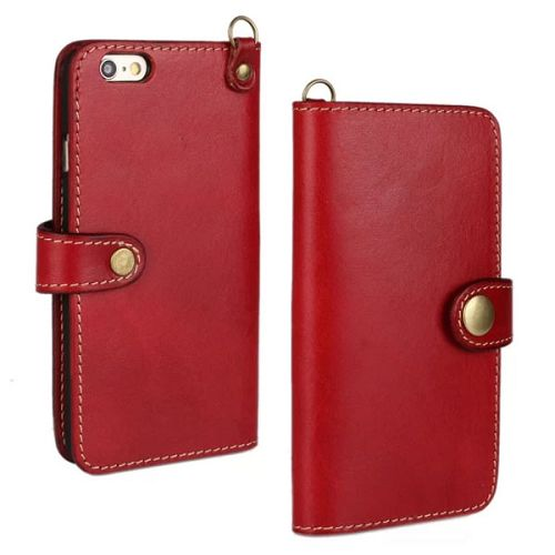 Luxury Wallet Style Flip Stand First Genuine Leather Cover for iPhone 6 4.7 inch with Buckle and Card Slots (Red)