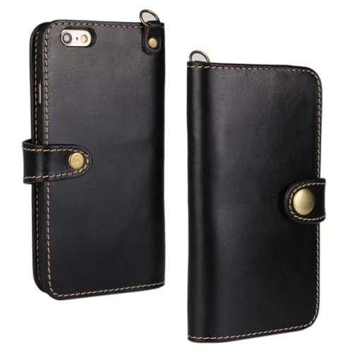Luxury Wallet Style Flip Stand First Genuine Leather Cover for iPhone 6 4.7 inch with Buckle and Card Slots (Black)