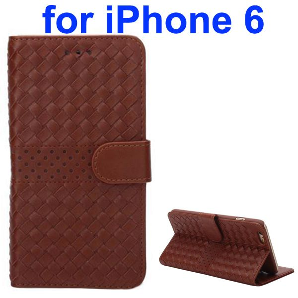 Woven Pattern Flip Leather Wallet Case for iPhone 6 4.7 Inch (Brown)