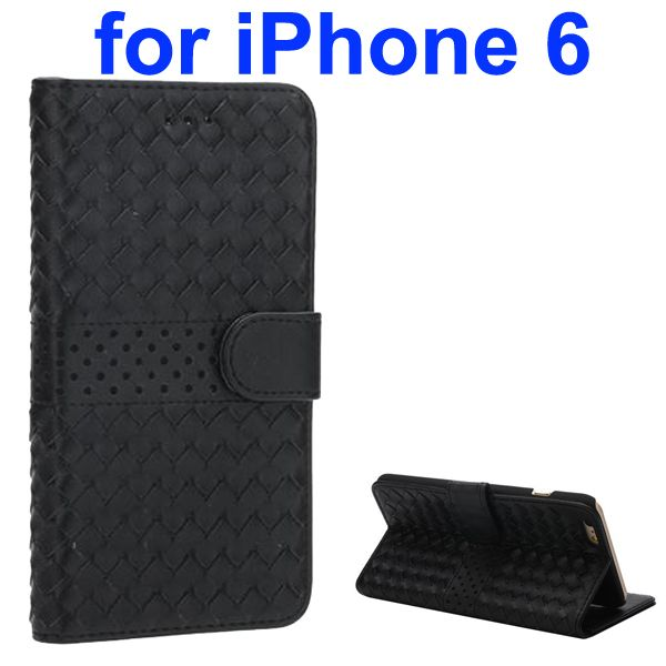 Woven Pattern Flip Leather Wallet Case for iPhone 6 4.7 Inch (Black)