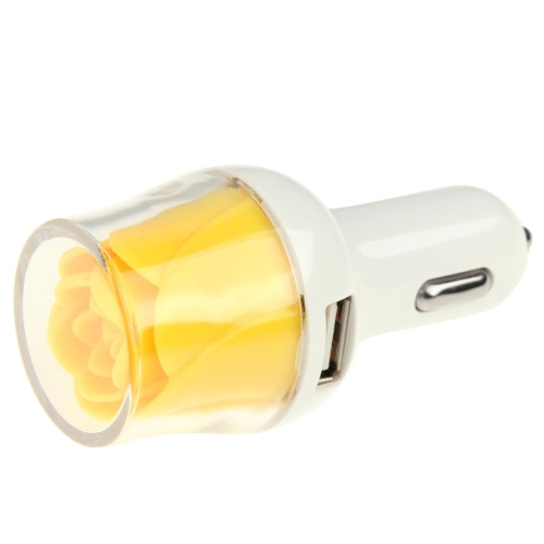 Rose Shape Universal Dual USB Car Charger for iPhone / iPad / Other Mobile Phones (Yellow)