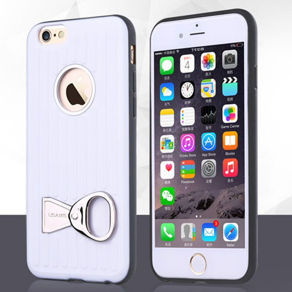 USAMS Rock Series TPU and PC Hybrid Case for iPhone 6 Plus with Can Ring Kickstand (White)